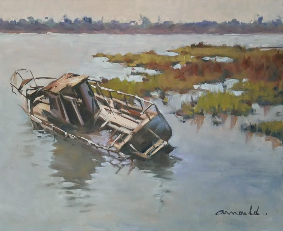 Christian Arnould - L'épave de Michel (huile sur toile 46 x 38)