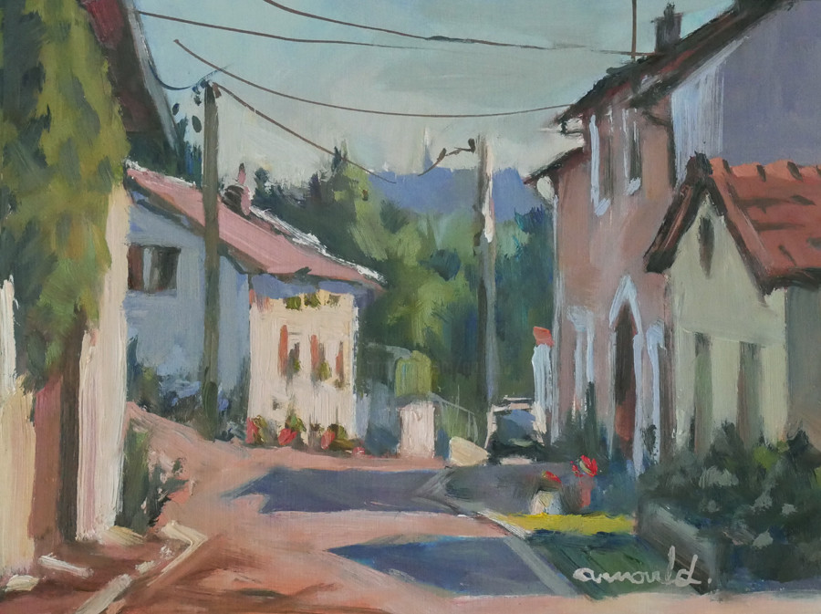 Christian Arnould - Colline de Sion au loin (huile sur papier 27 x 22)