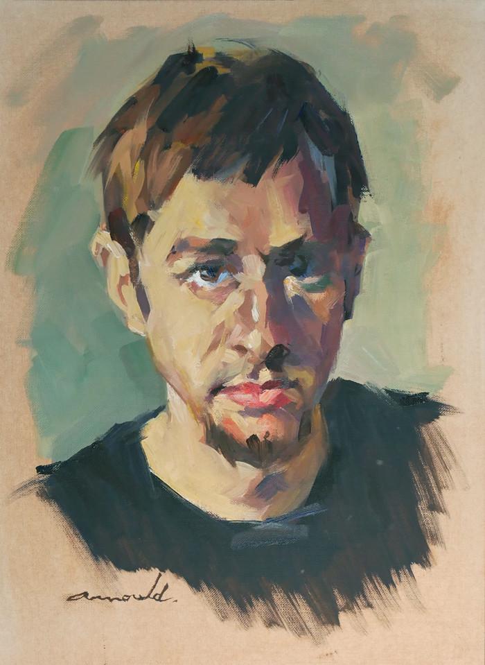 Christian Arnould - Portrait du matin (huile sur papier 33 x 24)