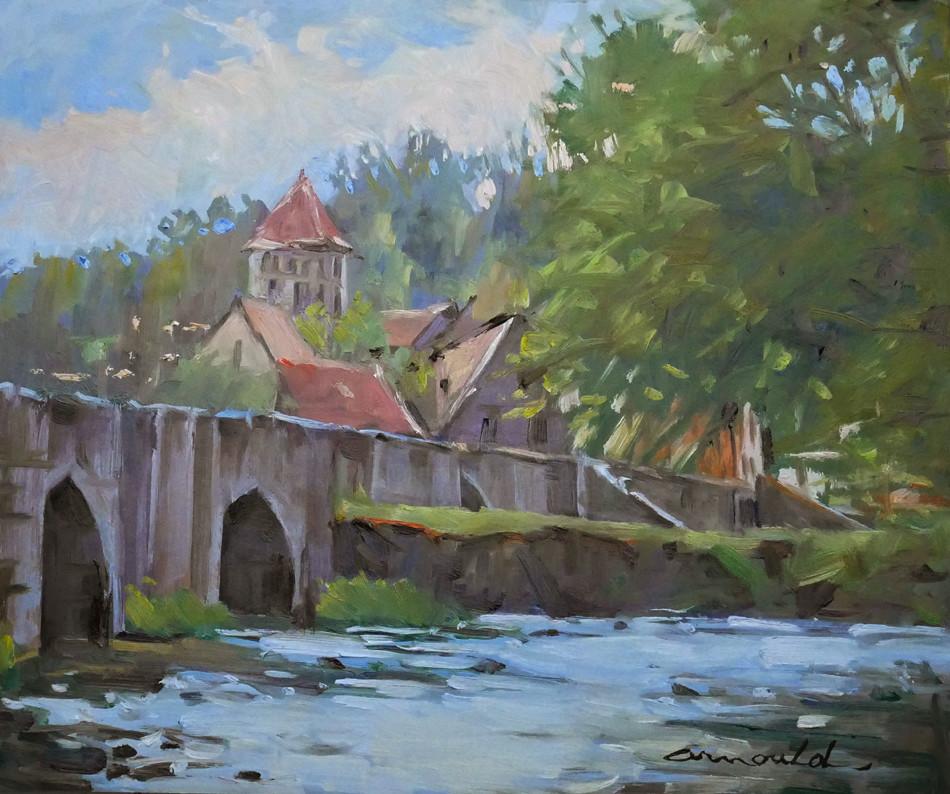 Christian Arnould - Un autre pont (huile sur carton 46 x 38)