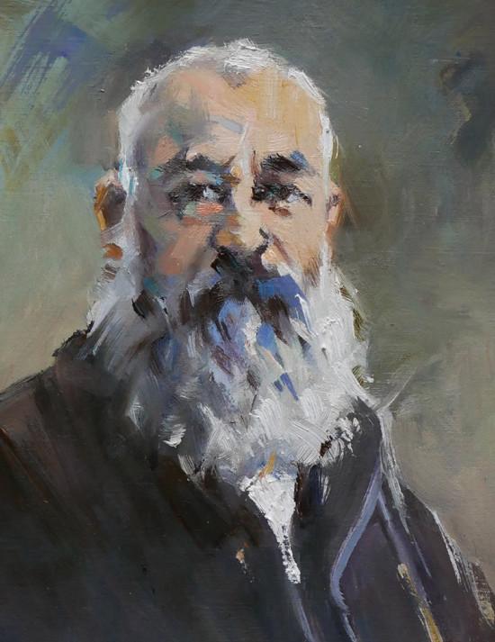 Christian Arnould - Claude Monet (huile sur papier 16 x 22)