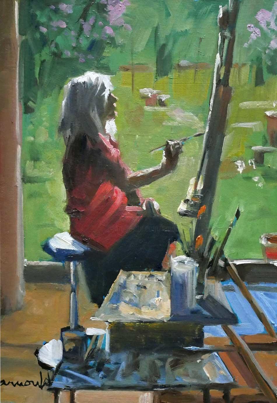 Christian Arnould - Quand Eliane peint (huile sur bois 35 x 27)