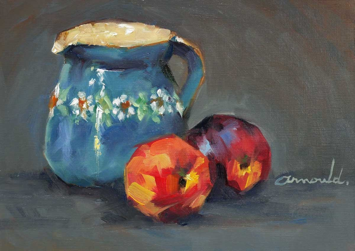 Christian Arnould - Le petit pot de Nadine (huile sur papier 33 x 24)