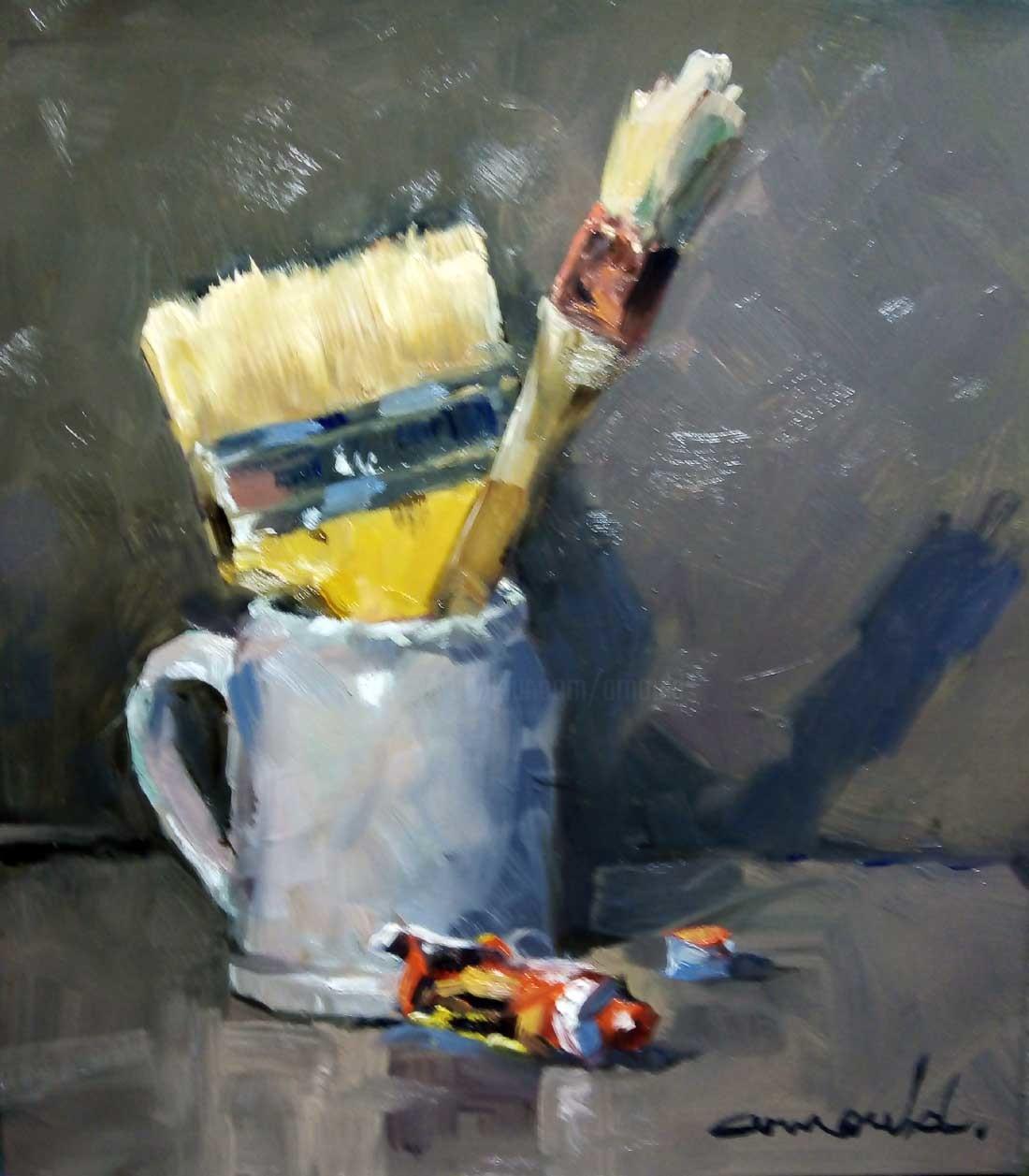 Christian Arnould - Pot à pinceau (huile sur papier 25 x 28)