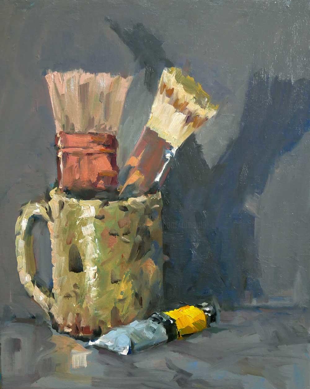 Christian Arnould - Pot à pinceau (huile sur toile 41 x 33)