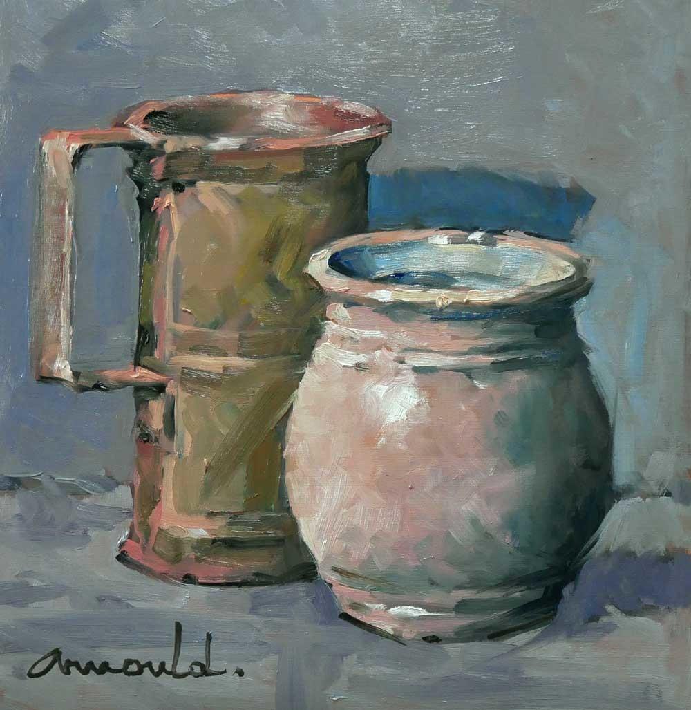 Christian Arnould - Etain et Grès Deux pots (huile sur papier  30 x 30)