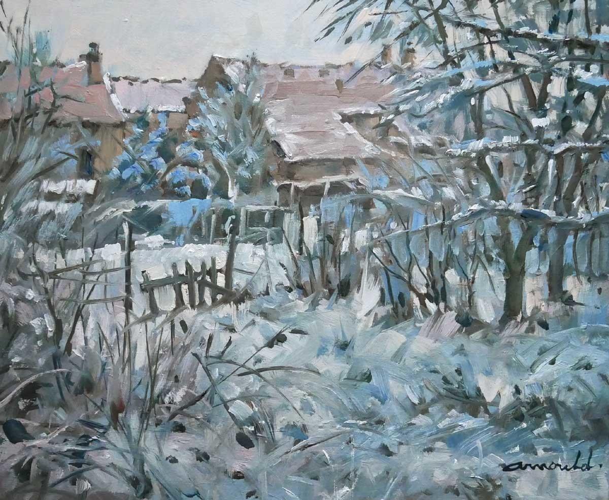 Christian Arnould - Premières neiges derrière chez moi (huile sur toile 46 x 38)
