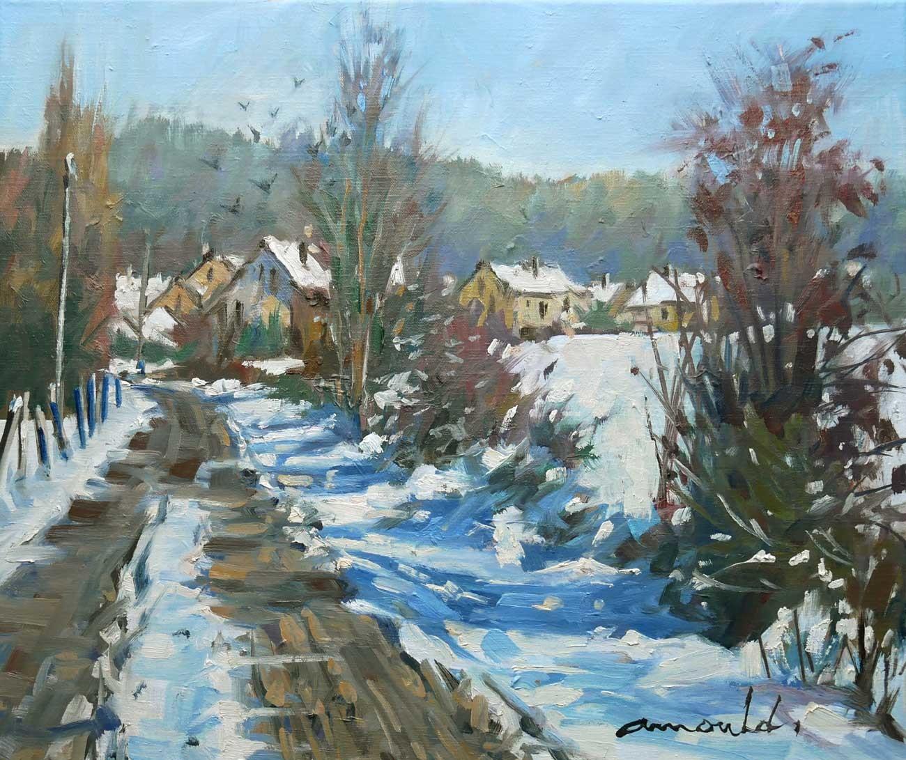 Christian Arnould - Il a neigé sur Flavigny (Huile sur toile 55 x 46)