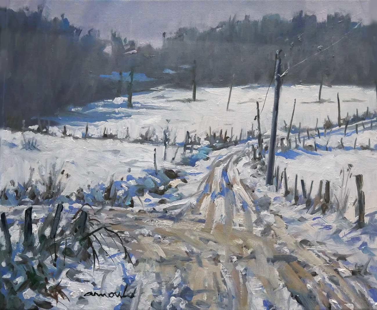 Christian Arnould - Chemins enneigés à Flavigny (huile sur toile 55 x 46)
