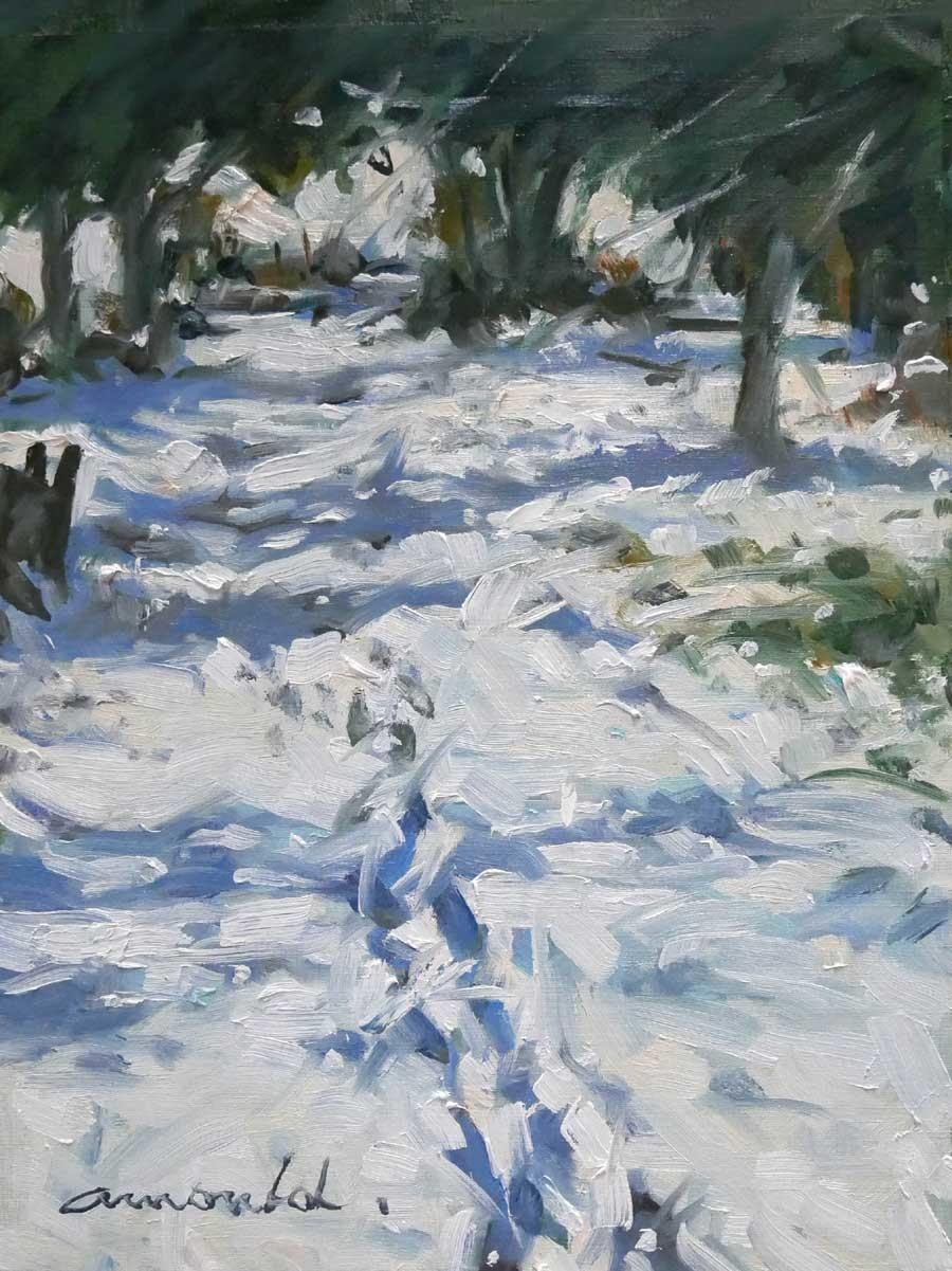 Christian Arnould - Traces de pas dans la neige à Flavigny