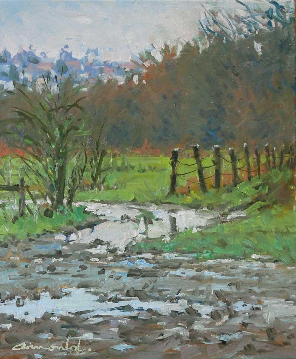 Christian Arnould - Après la neige (huile sur toile 46 x 38)