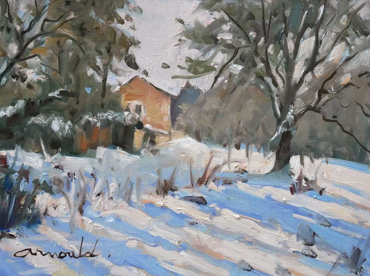 Christian Arnould - Pochade de neige (huile sur papier 30 x 22)