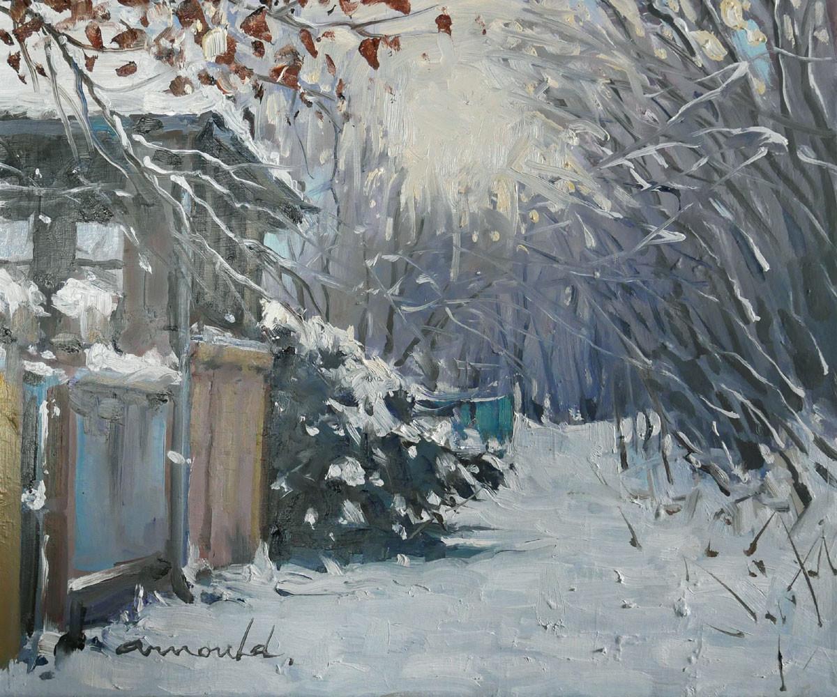 Christian Arnould - Souvenir de neige dans mon chemin (huile sur toile 46 x 38)
