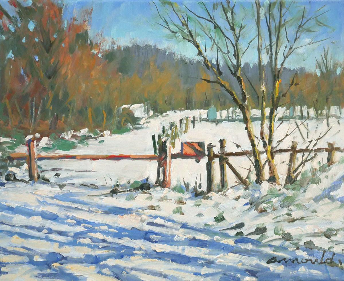 Christian Arnould - La barrière à Flavigny (huile sur toile 41 x 33)