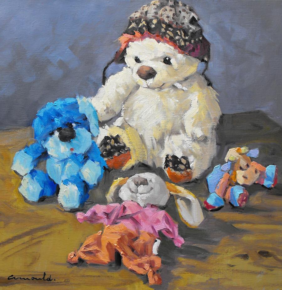 Christian Arnould - Les doudous (huile sur toile 50 x 50)