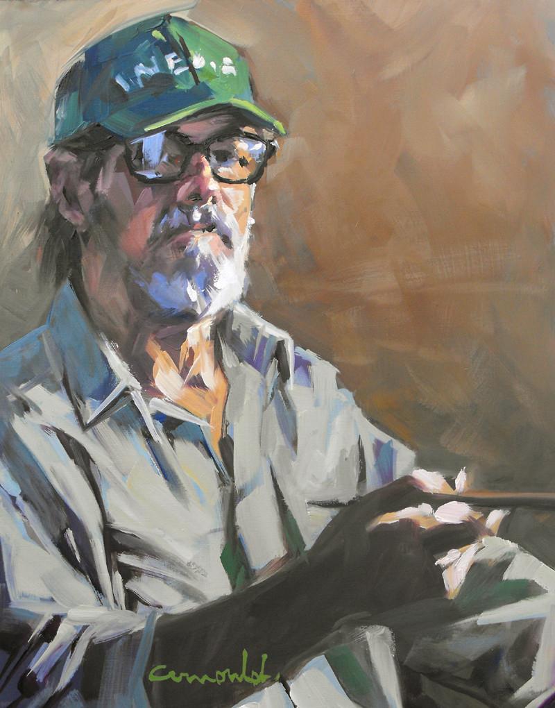 Christian Arnould - Self portrait (huile sur bois 35 x 27)