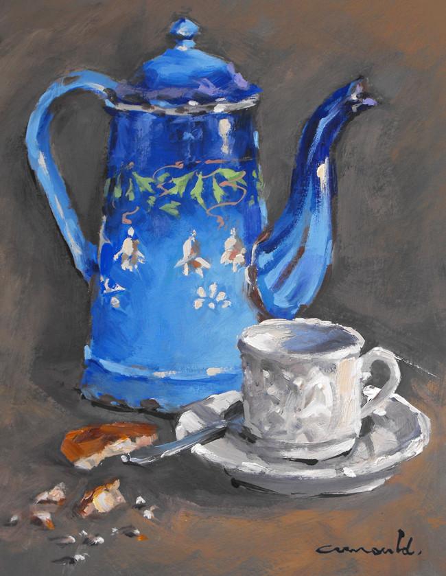 Christian Arnould - Vieille cafetière bleue (huile sur carton 35 x 27)