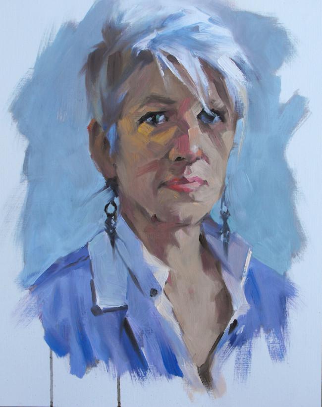 Christian Arnould - Portrait de Lorette ce matin Huile sur papier