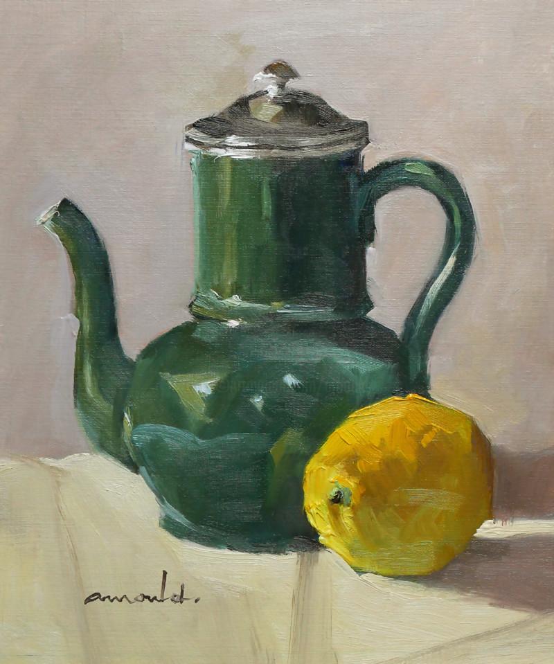 Christian Arnould - Théière et citron (huile sur papier 35 x 27)