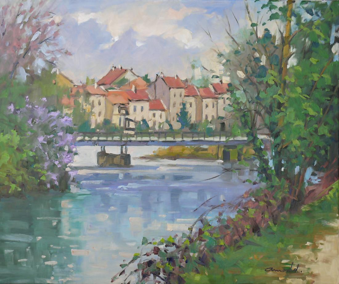 Christian Arnould - La Meurthe à Nancy (huile sur toile 65 x 54)