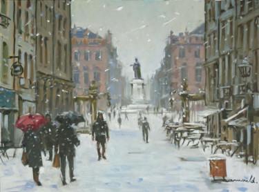 Il neige à Nancy (huile sur papier 55 x 46)