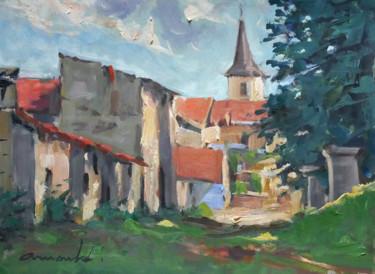 Neuviller sur Moselle (Huile sur papier 33 X 24)