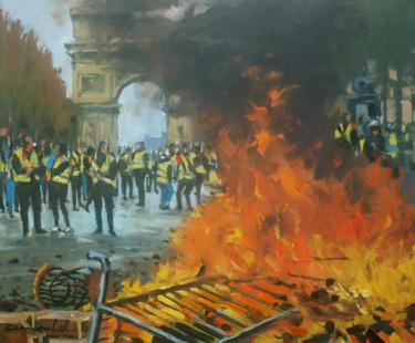 Gilets jaunes à Paris (huile sur toile 55 x 46)