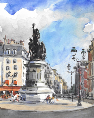 Place Clichy (aquarelle 24 x 19)