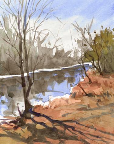 Aquarelle rivière l'hiver