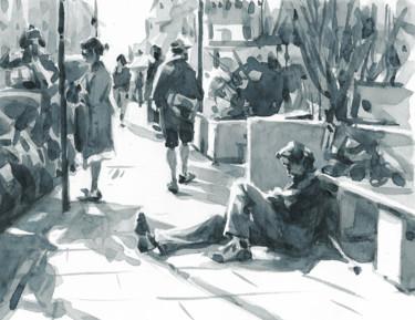 "Payne's Gray ""Scène de rue"" (24 x 19)"