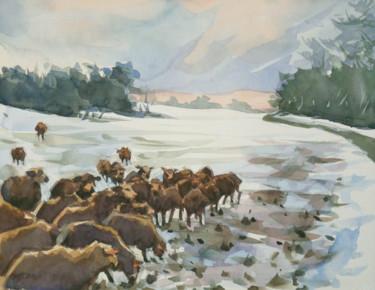 Moutons dans la neige (24 x 19)