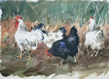 Coq et poules (Aquarelle 27 x 22)