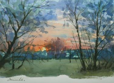 Le jour se lève (aquarelle 35 x 24)