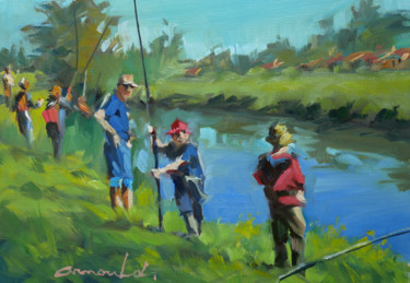 Partie de pêche (huile sur papier 33 x 24)