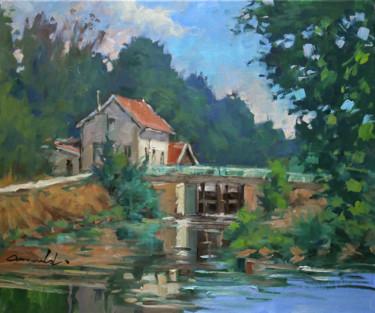 L'écluse de Flavigny (huile sur toile 55 x 46)
