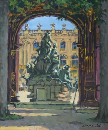 Contrejour de la fontaine Amphitrite à Nancy