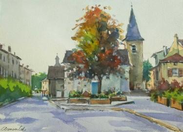 Tomblaine le matin (aquarelle 33 x 24)