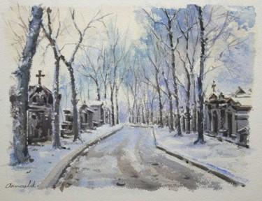 L'hiver au  Père Lachaise (aquarelle 35 x 27)