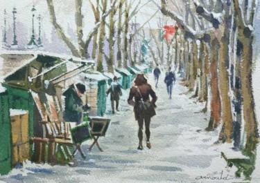 Bouquiniste sur les quais de la Seine (aquarelle 33 x 24)