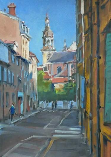 Eglise St Georges à Nancy (huile sur papier 33 x 24)