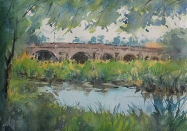Le pont de Haroué (Aquarelle 36 x 26)