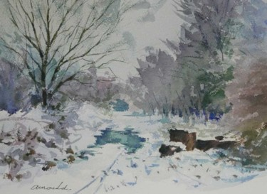 Sous bois enneigé (aquarelle 35 x 27)