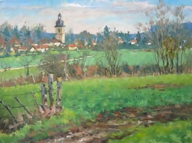 Le prieuré de Flavigny au loin (huile sur toile 73 x 54)
