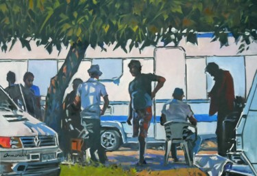 Contrejour devant la caravane (huile sur toile 81 x 54)
