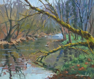 Au bord de l'eau à Flavigny (huile sur toile 55 x 46)