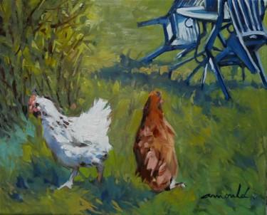Les poules de Françoise (huile sur toile 41 x 33)