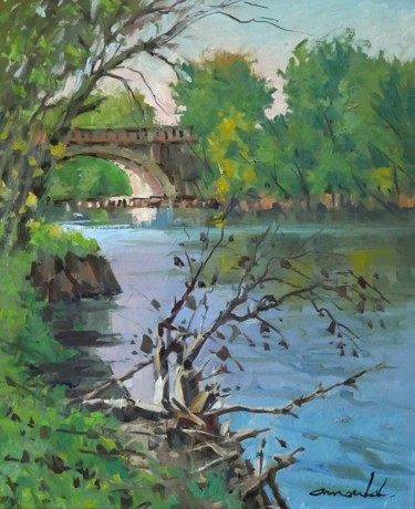 La Moselle derrière chez moi (huile sur toile 65 x 54)