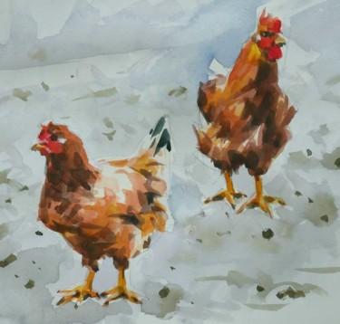 Deux poulets (Aquarelle 20 x 20)  #artistsupportpledge
