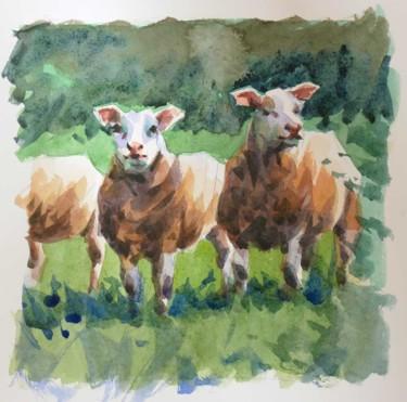 Deux moutons (Aquarelle 20 x 20)
