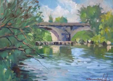 L'ancien pont à Flavigny (huile sur papier 35 x 27)